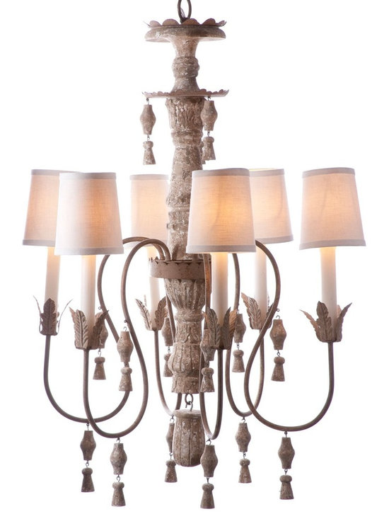 Aidan Gray Changement Chandelier - This versatile chandelier can change in an instant by using with or without shades. Features include six arms adorned with drops and leaf accents both on the arms and carved into the center wood column.