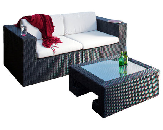 Great Deal Furniture - Sun Valley 3-Piece Love Seat and Table Set - Lounge in style with this stunning outdoor furniture set, which includes two corner seats that you can combine to create a loveseat, and a sleek glass topped table. The loveseat boasts durable, water resistant Sunbrella fabric cushions, and all three pieces feature all-weather PE wicker, masterfully woven into a chic modern design. Whether you're hosting a patio party or taking a quiet moment to yourself, you'll love how this set marries comfort and refined taste.