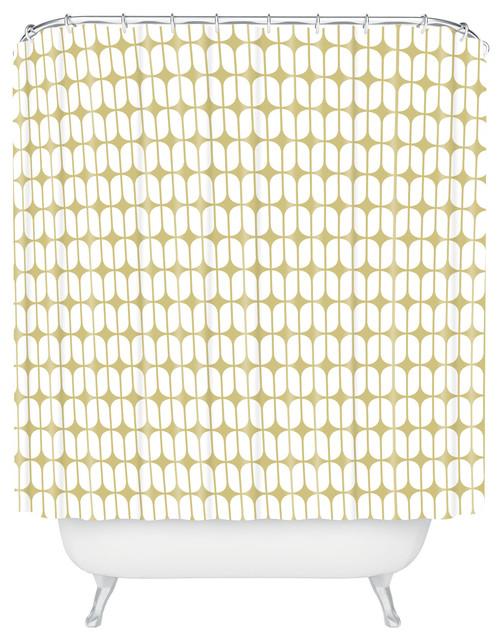 Caroline Okun Modular Beige Shower Curtain contemporary-shower-curtains