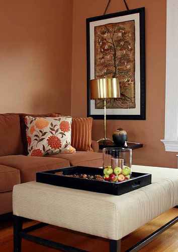 Autumn Leaves Falling eclectic living room