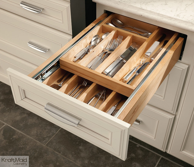 Kraftmaid wood tiered drawer storage transitional for Silverware storage no drawers
