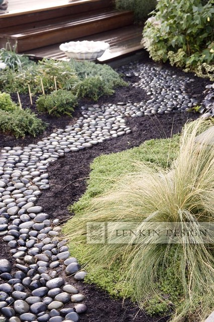 River rock path contemporary landscape los angeles for River rock landscaping