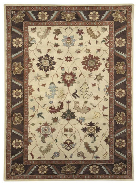 Dynamic Rugs Charisma 1411-100 (Ivory Brown) 5' x 8' Rug traditional-area-rugs