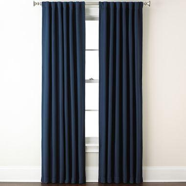 Eclipse Fresno Rod Pocket Back Tab Blackout Curtain Panel Dark Blue Traditional Curtains
