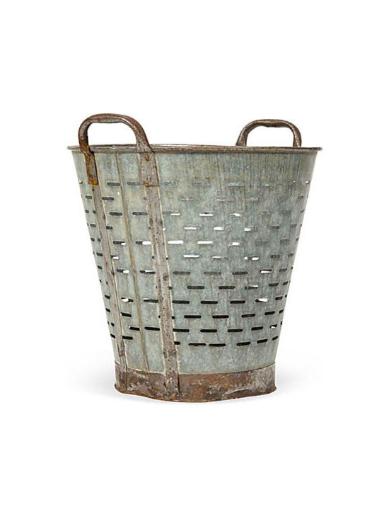 Olive Bucket - Vintage olive bucket used to pick olives years ago, now repurpose as lighting or for other organizational purposes in your home.