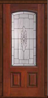 Single Door 80 Fiberglass Versailles 2 Panel Arch Lite Glass mediterranean-front-doors
