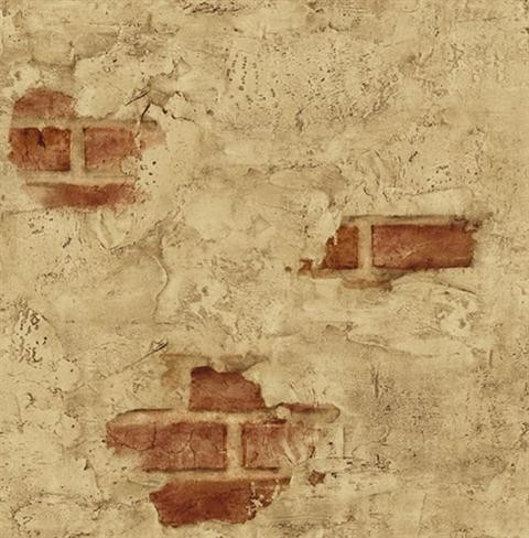 faux plastered brick wallpaper dark red and taupe double