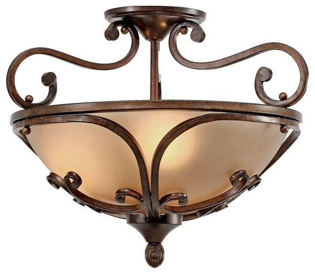 "Country - Cottage Loretto Collection Russet Bronze 19"" Wide Ceiling Light traditional-ceiling-lighting"