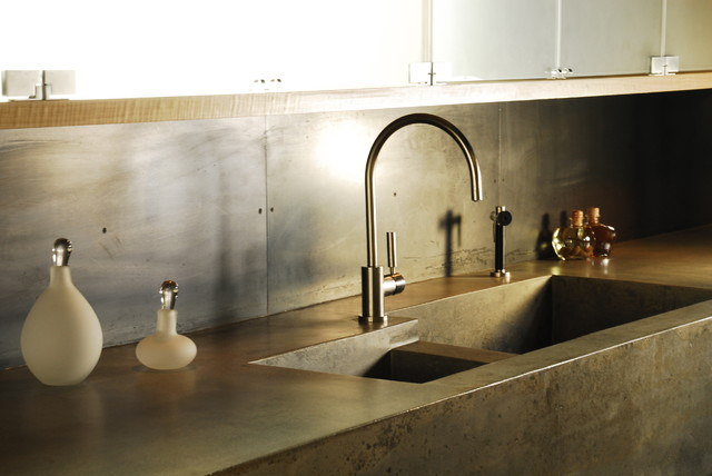 Integrated Kitchen Sink : Concrete kitchen countertops with integrated sink - Modern - Kitchen ...