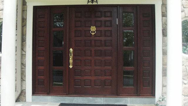Custom Made Wood Mahogany Door Contemporary Front