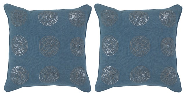 Turquoise and Silver Set of Two Pillows contemporary-decorative-pillows