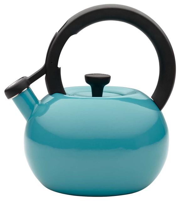 Circulon Circles 2 Quart Steel Teakettle, Capri Turquoise contemporary-kettles