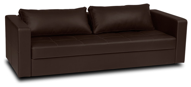 Eperny Brown Faux Leather Sofa Bed modern-futons