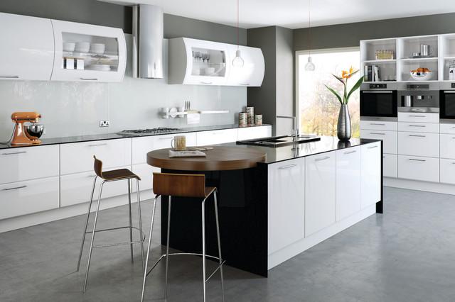 High gloss white kitchens modern kitchen cabinetry for Black high gloss kitchen ideas
