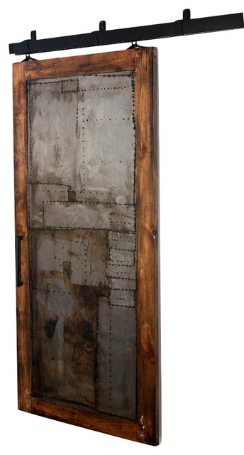 Steampunk Scrap-Metal Barn Door - Rustic - Windows And Doors - by Rustica Hardware