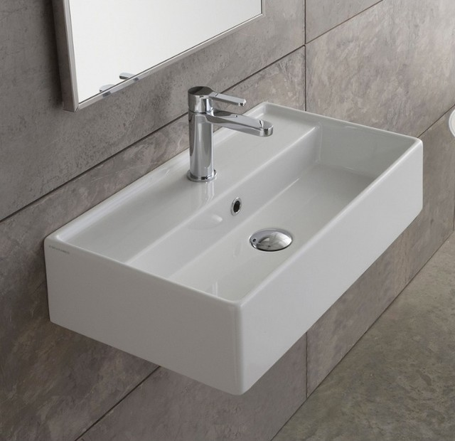 Space Saving Simple Wall Mounted Sink - Contemporary - Bathroom Sinks ...