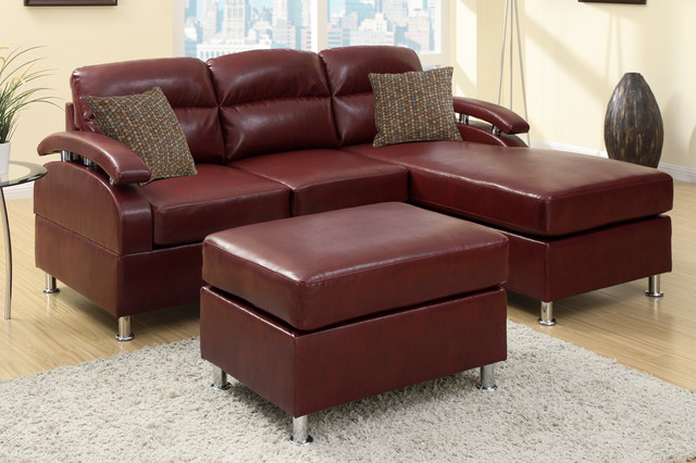 Modern small burgundy leather sectional sofa reversible for Burgundy leather chaise