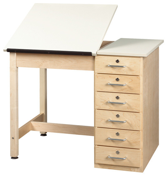Split Top Drafting Table With Drawer Base Contemporary drafting tables