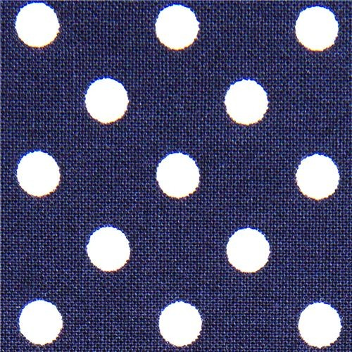 blue Michael Miller fabric small white polka dots  fabric