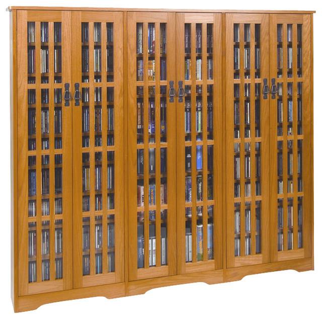 Leslie Dame CD/DVD Wall Rack Media Storage with Slat Door ...