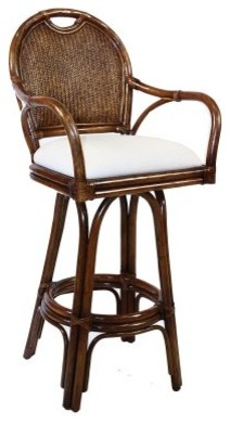 Hospitality Rattan Classic Indoor Swivel Rattan & Wicker 24 in. Counter Stoo modern-bar-stools-and-counter-stools
