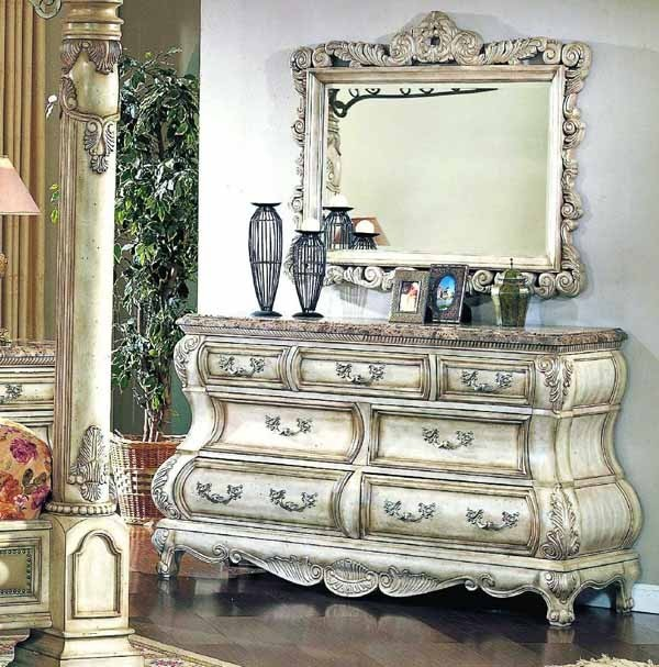 Yuan Tai Furniture Calidonian Whitewash Dresser And Whitewash Mirror Ca6627d Traditional