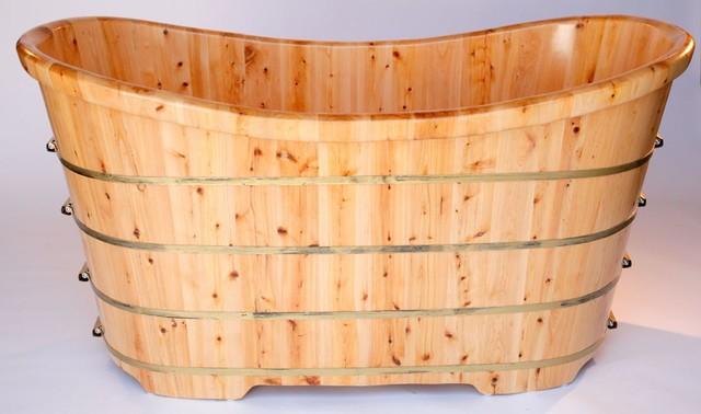 """Alfi AB1105 AB1105 63"""" Free Standing Cedar Wood Bath Tub modern-bathtubs"""