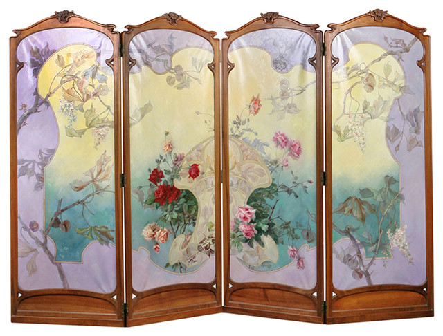 French antique art nouveau four panel painted screen for Painted screens room dividers