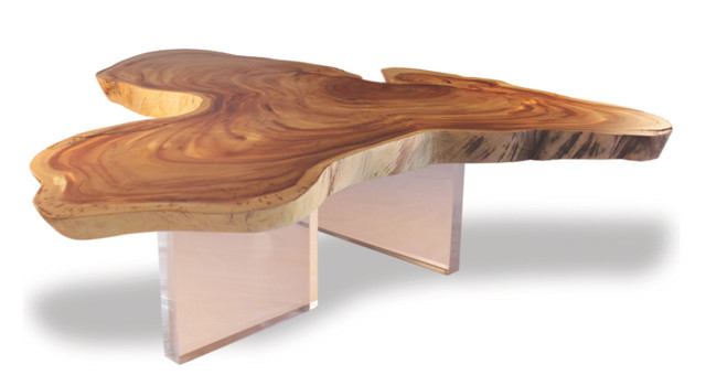 Free form wood floating cocktail table clear acrylic for Free form wood coffee tables