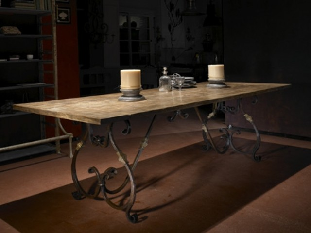 Recycled Teak Top With French Style Scroll Iron Base