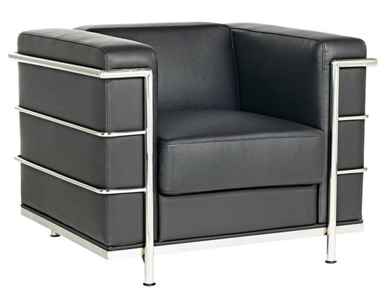 """Zuo - Zuo Fortress Black Leather Cube Arm Chair - Soft Italian leather wrapped cushions are supported by steel tube chrome frame and legs. This leather chair creation is ageless and timeless. Which makes it a modern classic. The clean design is matched with classic leather and is super comfortable. Black Italian leather wrapped cushions. Chrome steel tubed frame and legs. 35"""" wide. 26"""" high.26"""" deep. Seat height is 16"""" from floor.  Black Italian leather wrapped cushions.  Chrome steel tubed frame and legs.   35"""" wide.  26"""" high.  26"""" deep.   Seat height is 16"""" from floor."""