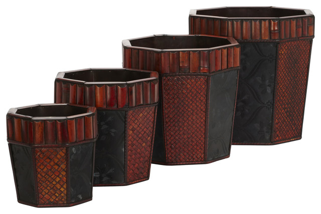 Bamboo Octagon Decorative Planters (Set of 4) transitional-artificial-flowers-plants-and-trees