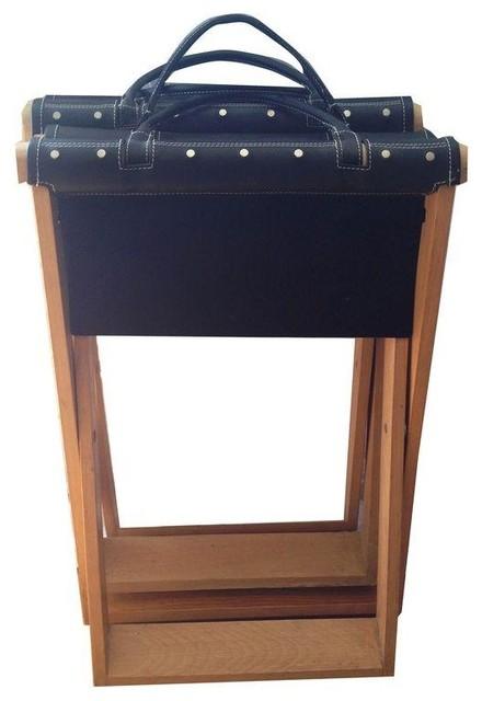 Leather Amp Canvas Folding Wood Stools Traditional Bar