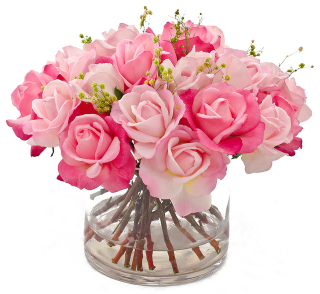 Real touch rose faux floral arrangements centerpieces