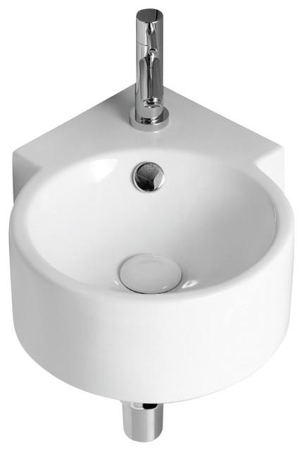 Round White Ceramic Wall Mounted Corner Bathroom Sink One