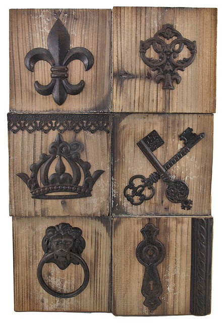 Fleur De Lis Wooden Wall Plaque With Metal Accents Contemporary Home Deco