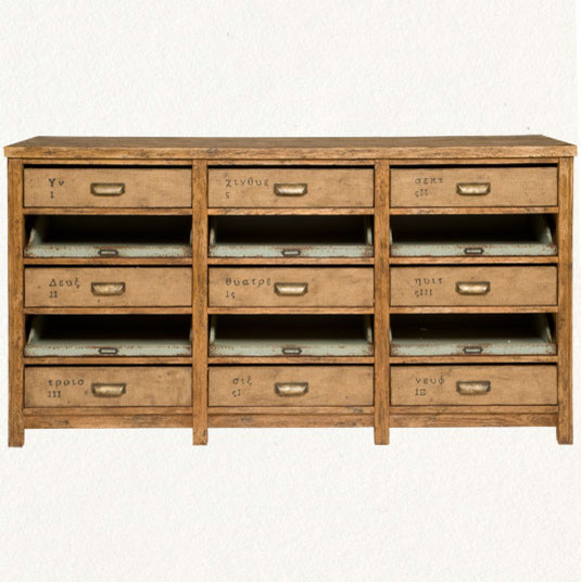 Nine-Drawer Console eclectic-buffets-and-sideboards