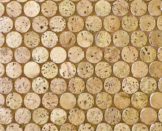 Corkdotz cork mosaic penny round tile eclectic cork for Outdoor cork flooring