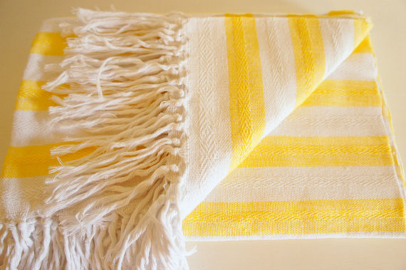 Hand-woven 'Honey' Striped 100% Cotton Summer Blanket By mexchic contemporary-blankets