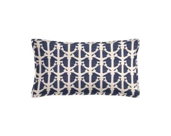 """Cushion Source - Drop Anchors Royalty Outdoor Lumbar Pillow - The 20"""" x 12"""" Drop Anchors Royalty Outdoor Lumbar Pillow features a repeating anchor pattern in white on a navy background with piping. Perfect for the beach!"""