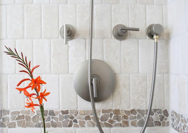 Island Stone random tile bathroom shower and sink modern-tile