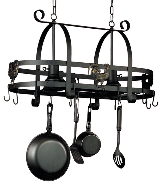 Artcraft Ebony Rooster Pot Rack With Lights traditional-chandeliers