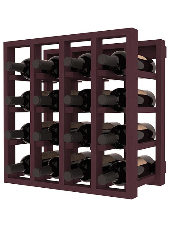 Lattice Stacking Wine Cubicle in Pine with Burgundy Stain - Designed to stack one on top of the other for space-saving wine storage our stacking cubes are ideal for an expanding collection. Use as a stand alone rack in your kitchen or living space or pair with the 20 Bottle X-Cube Wine Rack and/or the Stemware Rack Cube for flexible storage.