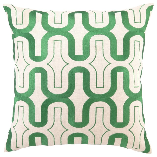 DL Rhein Honeycomb Green Apple Embroidered Pillow contemporary pillows