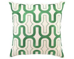 DL Rhein Honeycomb Green Apple Embroidered Pillow contemporary-pillows