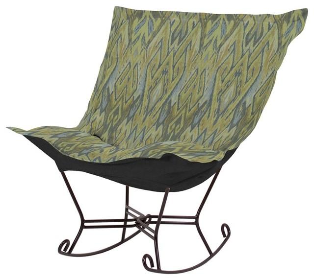 Howard Elliott Ikat Willow Scroll Puff Rocker - Mahogany Frame modern-rocking-chairs