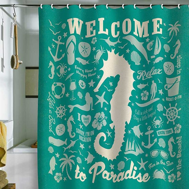 DENY Designs Anderson Design Group Sea Horse Pattern Shower Curtain contemporary-showerheads-and-body-sprays