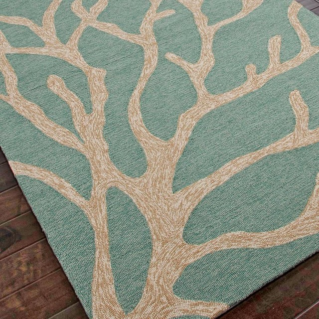 Coral And Turquoise Outdoor Rug: Tree Coral Hooked Outdoor Rug