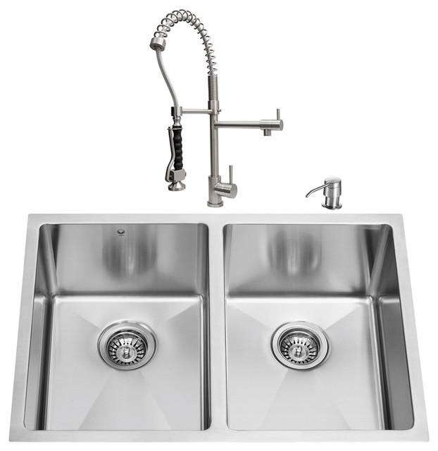 VIGO All in One 29-inch Undermount Stainless Steel Double Bowl Kitchen Sink and modern-kitchen-sinks