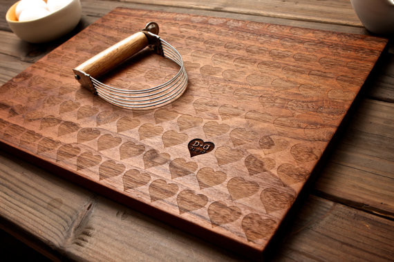 Personalized carved heart engraved wood cutting board by for Diy personalized wood cutting board